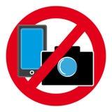 Отсутствие символа камеры и мобильного телефона на белой предпосылке бесплатная иллюстрация