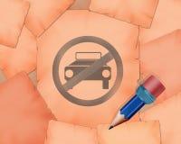 Отсутствие символ автостоянки и малый карандаш с ним Стоковое Изображение
