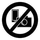 Отсутствие символа камеры и мобильного телефона на белой предпосылке иллюстрация штока
