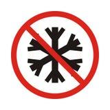 Отсутствие снежинки отсутствие замороженный Красный знак запрета остановите символ иллюстрация штока