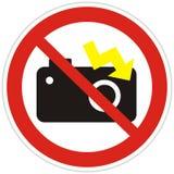 Отсутствие фотографии со вспышкой, символа, запрета на фотографировать с молнией, значком вектора иллюстрация штока