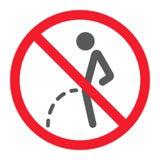 Отсутствие peeing значка глифа, запрета и запрещенный иллюстрация штока