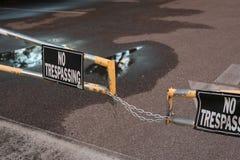 Отсутствие Trespassing знака на стробе Стоковая Фотография