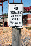 Отсутствие trespassing знака на строительной площадке Стоковое фото RF