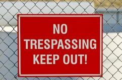 отсутствие trespassing знака Стоковые Фото