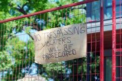 отсутствие trespassing знака Стоковые Фотографии RF