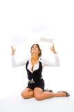 отсутствующая женщина хода бумаг Стоковые Фотографии RF