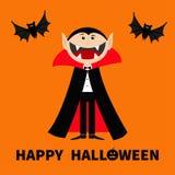 Отсчет Дракула нося черную и красную накидку Милый характер вампира шаржа с большими открытыми ртом, языком и клыками Ани летая л Стоковые Фото