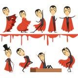 Отсчет Дракула шаржа нося красный комплект накидки Иллюстрации вектора характеров вампира бесплатная иллюстрация