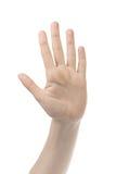 Отсчет 5 руки молодой женщины Стоковые Фотографии RF
