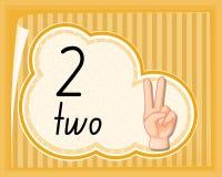 Отсчет 2 с жестом рукой иллюстрация штока