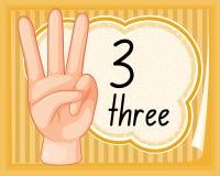 Отсчет 3 с жестом рукой иллюстрация вектора