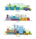 Отход для рециркулировать, фабрика, здание конструкции Архитектурноакустическое здание Город чистки Стоковое фото RF