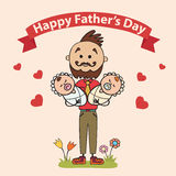 2 отца с детьми в их оружиях Карточки элемента на день отца также вектор иллюстрации притяжки corel Стоковое Изображение