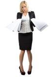 Отчаянная дама дела с кучей бумаг Стоковое фото RF