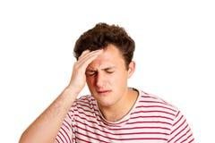Отчаянный плача человек с рукой в волосах эмоциональный человек изолированный на белой предпосылке стоковое фото rf
