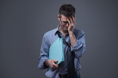 Отчаянный увольнянный бизнесмен Стоковая Фотография