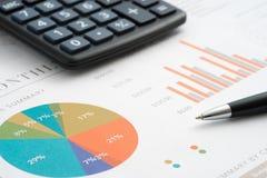 отчеты о бумаг стекел монеток диаграмм дела анализа Стоковое Изображение RF