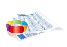 отчеты о поступлениях диаграммы дела схематические Стоковое фото RF