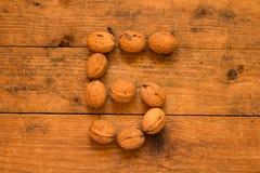 5 от грецких орехов Стоковая Фотография