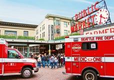 Отделение пожарной охраны Сиэтл на рынке места Pike Стоковое Изображение