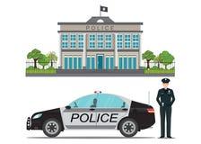 Отделение полици с полицейским и полицейской машиной иллюстрация вектора