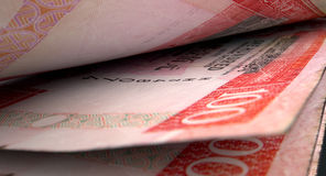 Отделенная деталь конца-вверх банкнот Стоковые Изображения RF