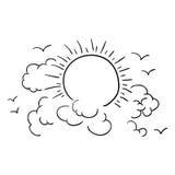 Отдельные облако и дизайн солнца Стоковые Фотографии RF