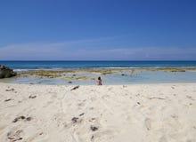 Отдельный человек на пляже Стоковое Фото