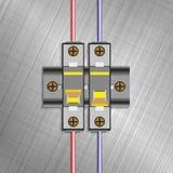 Отлитый в форму автомат защити цепи случая Электрические плавкие части предохранителя также вектор иллюстрации притяжки corel Стоковые Изображения RF