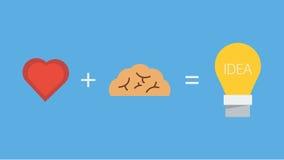 Отличная идея, мозг сердца и свет, значок Стоковые Фотографии RF