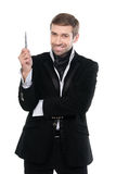 Отличная идея! Стильный бизнесмен указывая идея с ручкой Стоковые Изображения