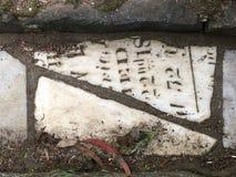 От камня фигурной стрижки кустов надгробной плиты кладбища вымощая, 14 Стоковое Изображение RF