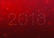 2016 от красивых ярких звезд над красным светом нерезкости с сияющим иллюстрация штока