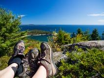 Hiking в национальном парке Acadia стоковые фото