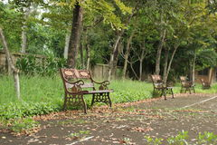 Отдыхая стул в парке Стоковая Фотография RF