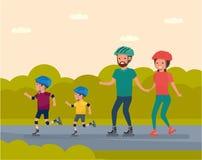 Отдых семьи Семья в семье парка атракционов - кататься на коньках матери, отца и ролика 2 сыновьей иллюстрация штока