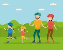Отдых семьи Семья в семье парка атракционов - мама, папа, сын и дочь, кататься на коньках ролика иллюстрация штока