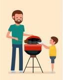 Отдых семьи Человек варит гриль барбекю Мясо и сосиски фрая на огне иллюстрация вектора