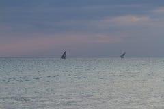 2 доу встают на сторону - мимо - бортовой Занзибар Стоковые Изображения RF
