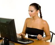 офиса стола дела женщина кавказского милая Стоковые Фото