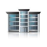 Офисное здание с отражением и входным сигналом иллюстрация вектора