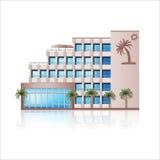 Офисное здание с отражением и входным сигналом иллюстрация штока