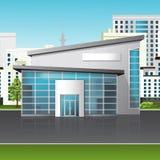 Офисное здание с отражением на предпосылке улицы иллюстрация штока