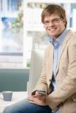 офис бизнесмена счастливый Стоковое Фото