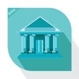 Офис денег коммерческого рынка здания значка банка голубой Стоковые Изображения