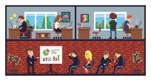 Офис искусства пиксела иллюстрация вектора