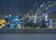 Офис ночи с диаграммами Стоковое Фото