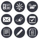 Офис, документы и значки дела иллюстрация вектора