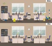 Офис перед и после чисткой Стоковые Фото